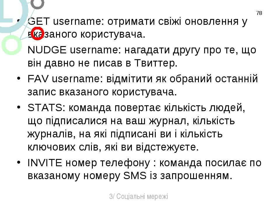 GET username: отримати свіжі оновлення у вказаного користувача. NUDGE usernam...