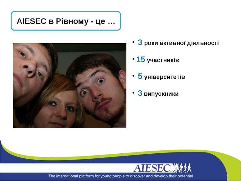 AIESEC в Рівному - це … 3 роки активної діяльності 15 участників 5 університе...