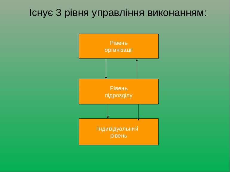 Існує 3 рівня управління виконанням: Рівень організації Рівень підрозділу Інд...