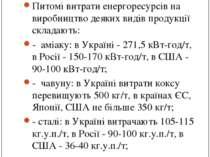 Енергоємність виробництва в Україні: Питомі витрати енергоресурсів на виробни...
