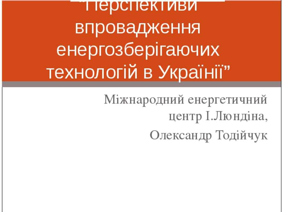 """Міжнародний енергетичний центр І.Люндіна, Олександр Тодійчук """"Перспективи впр..."""