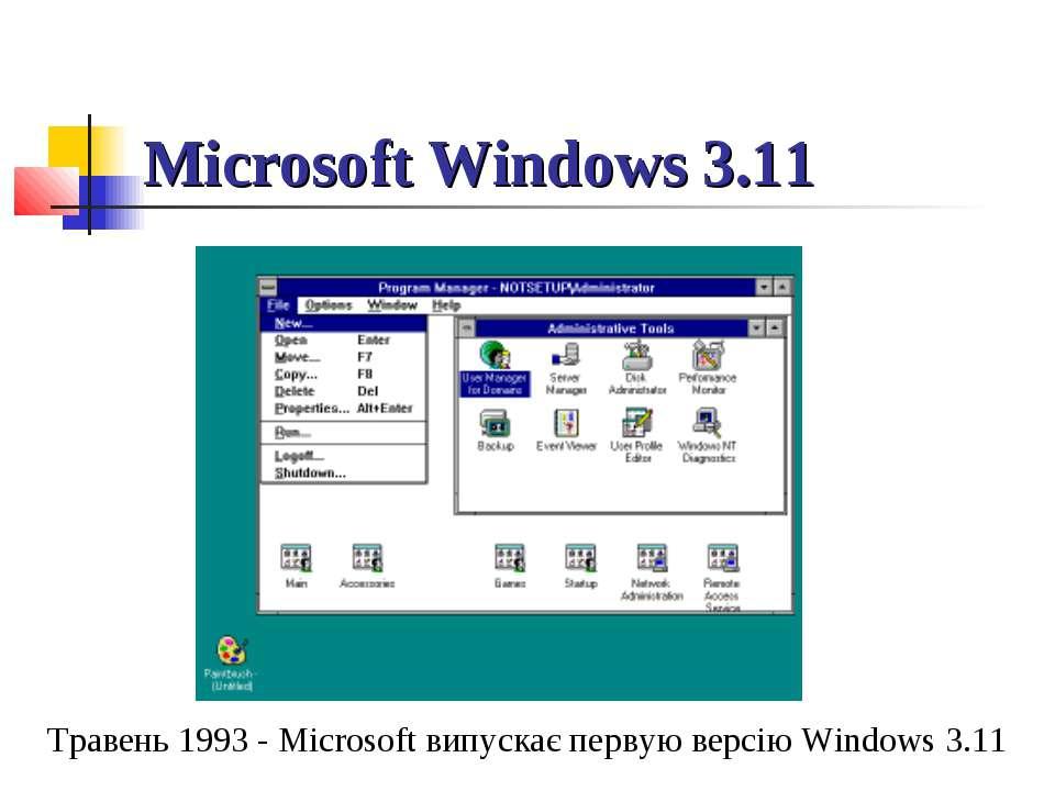 Microsoft Windows 3.11 Травень 1993 - Microsoft випускає первую версію Window...
