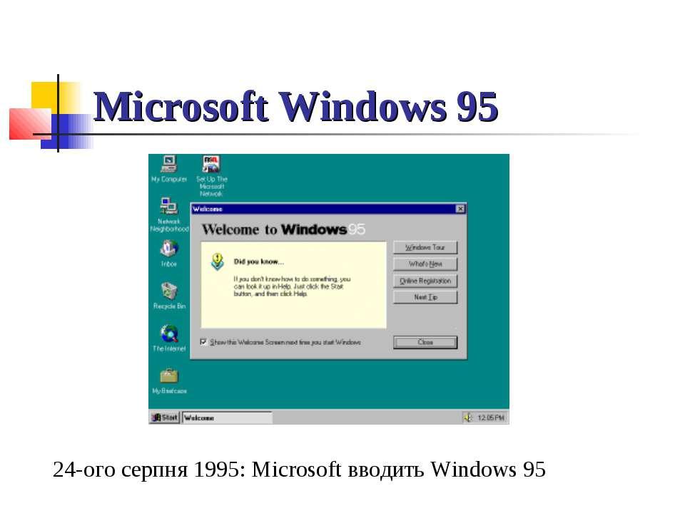Microsoft Windows 95 24-ого серпня 1995: Microsoft вводить Windows 95