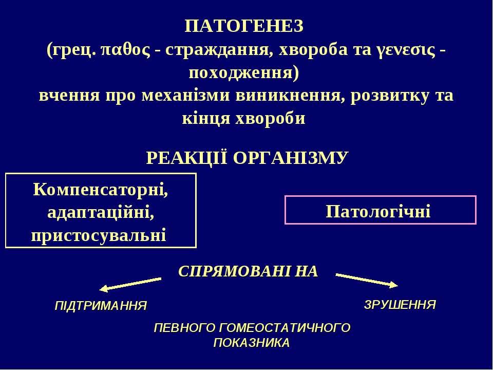 ПАТОГЕНЕЗ (грец. παθος - страждання, хвороба та γενεσις - походження) вчення ...