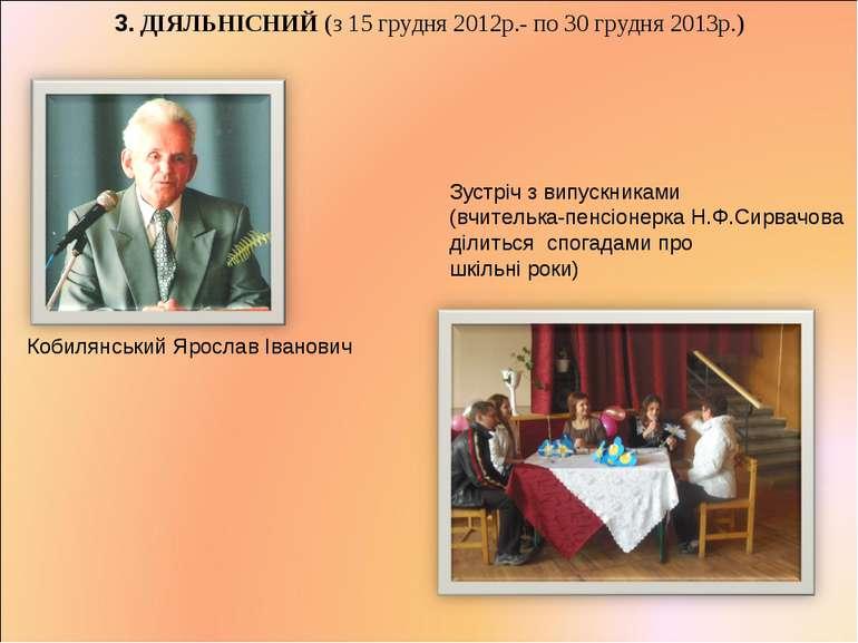 3. ДІЯЛЬНІСНИЙ (з 15 грудня 2012р.- по 30 грудня 2013р.) Кобилянський Ярослав...