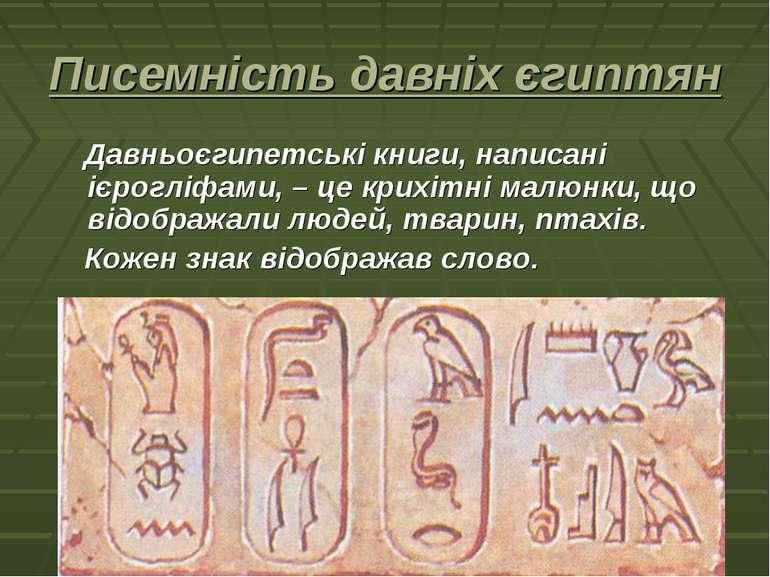 Писемність давніх єгиптян Давньоєгипетські книги, написані ієрогліфами, – це ...