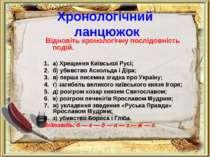 Хронологічний ланцюжок Відновіть хронологічну послідовність подій. а) Хрещенн...