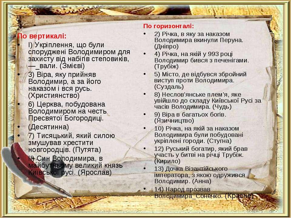 По вертикалі: I) Укріплення, що були споруджені Володимиром для захисту від н...