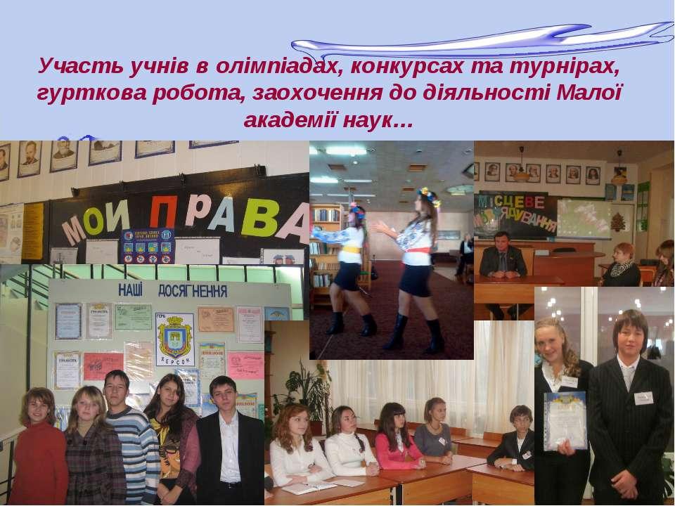 Участь учнів в олімпіадах, конкурсах та турнірах, гурткова робота, заохочення...