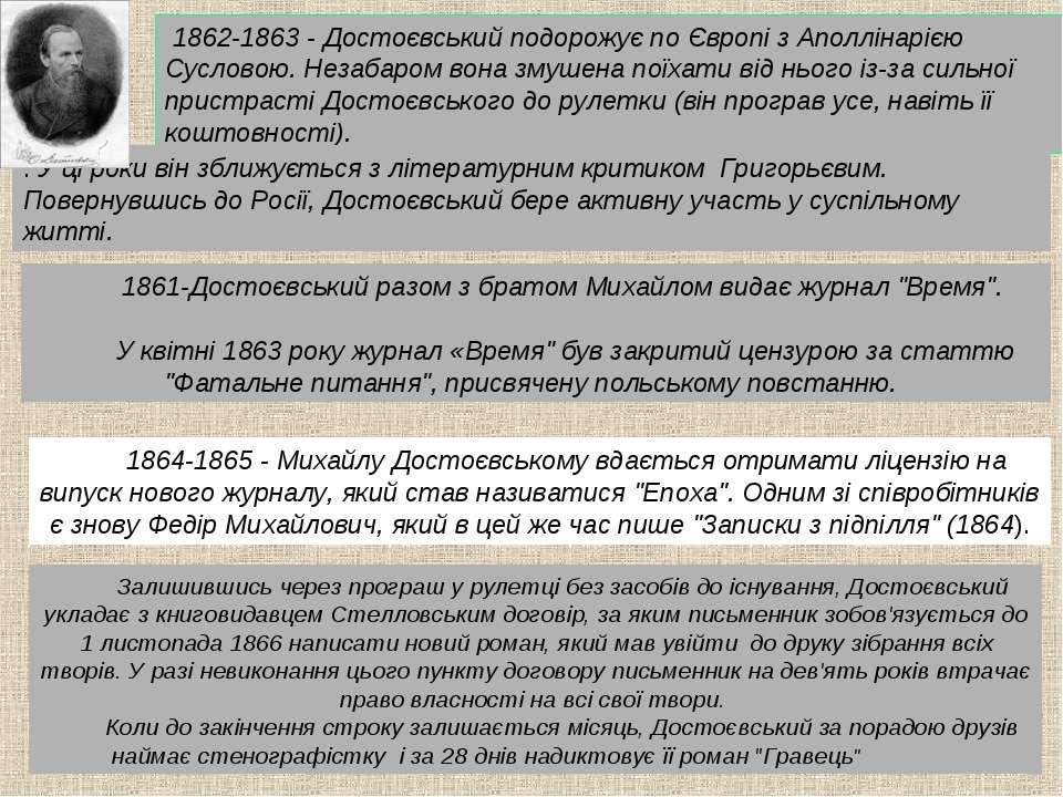 1862-1863 - Достоєвський подорожує по Європі з Аполлінарією Сусловою. Незабар...
