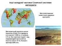 Інші складові частини Сонячної системи: метеорити Местоположение известных уд...