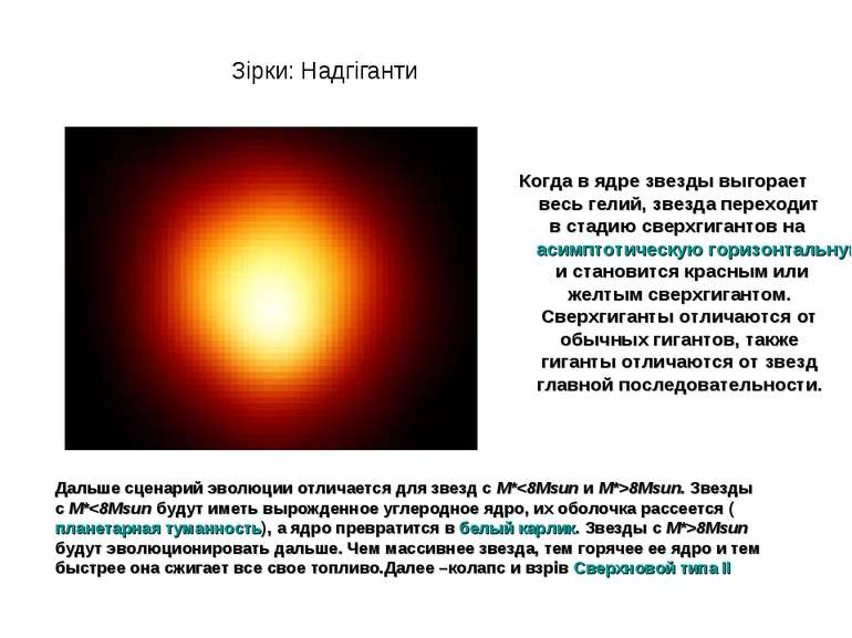 Когда в ядре звезды выгорает весь гелий, звезда переходит в стадию сверхгиган...