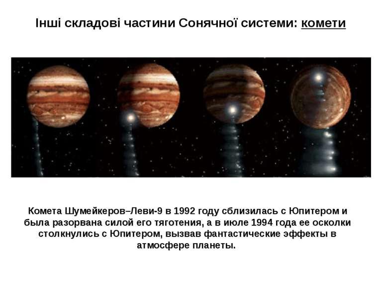 Інші складові частини Сонячної системи: комети Комета Шумейкеров–Леви-9 в 199...