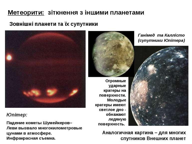 Метеорити: зіткнення з іншими планетами Юпітер: Падение кометы Шумейкеров–Лев...