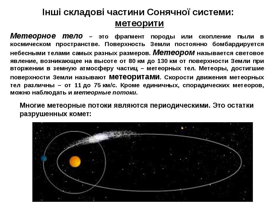 Інші складові частини Сонячної системи: метеорити Многие метеорные потоки явл...