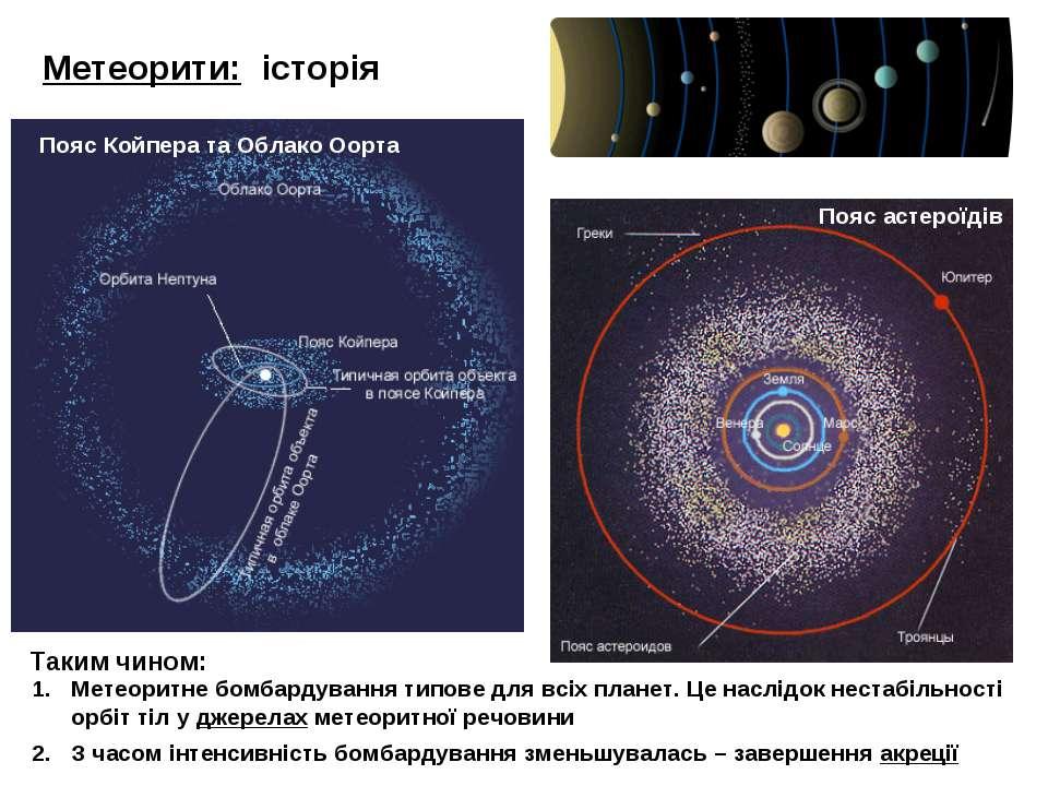 Метеорити: історія Пояс астероїдів Метеоритне бомбардування типове для всіх п...