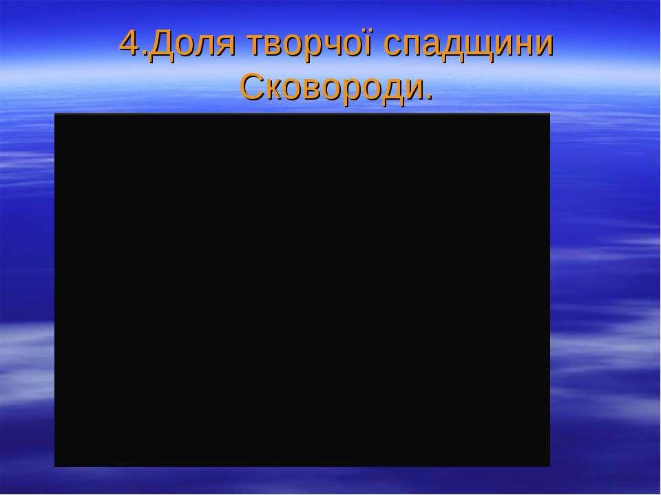 4.Доля творчої спадщини Сковороди.
