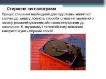 Стирання сигналограми Процес стирання необхідний для підготовки магнітної стр...