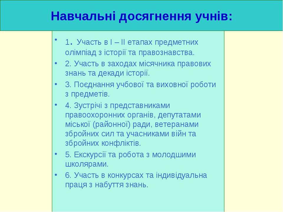 Навчальні досягнення учнів: 1. Участь в I – II етапах предметних олімпіад з і...