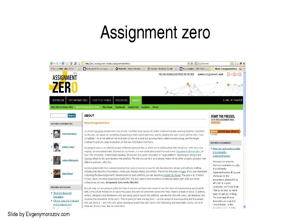 Assignment zero Slide by Evgenymorozov.com
