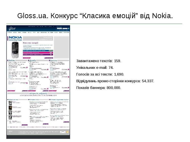 """Gloss.ua. Конкурс """"Класика емоцій"""" від Nokia. Завантажено текстів: 159. Уніка..."""
