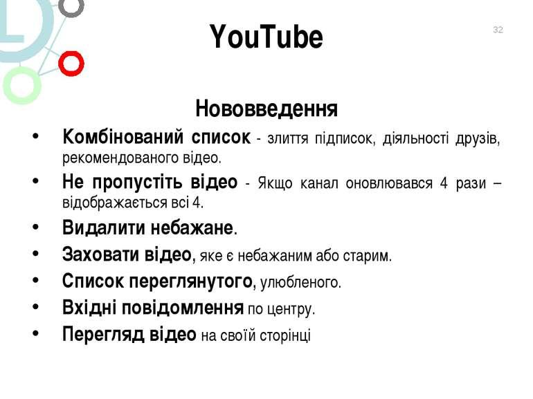 YouTube Нововведення Комбінований список - злиття підписок, діяльності друзів...