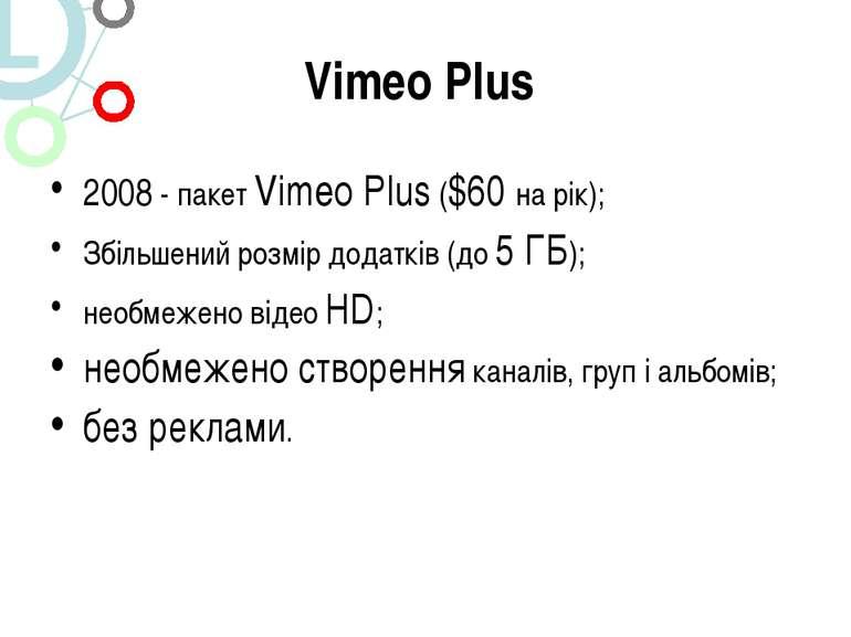 Vimeo Plus 2008 - пакет Vimeo Plus ($60 на рік); Збільшений розмір додатків (...