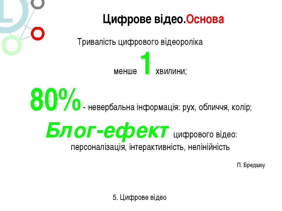Тривалість цифрового відеороліка менше 1 хвилини; 80% - невербальна інформаці...
