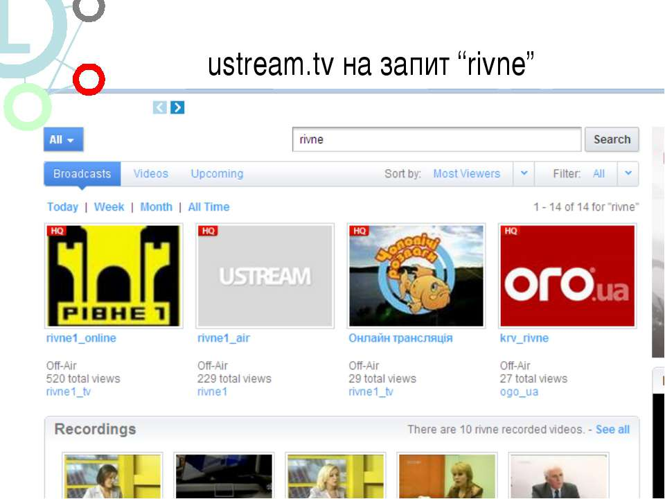 "ustream.tv на запит ""rivne"""