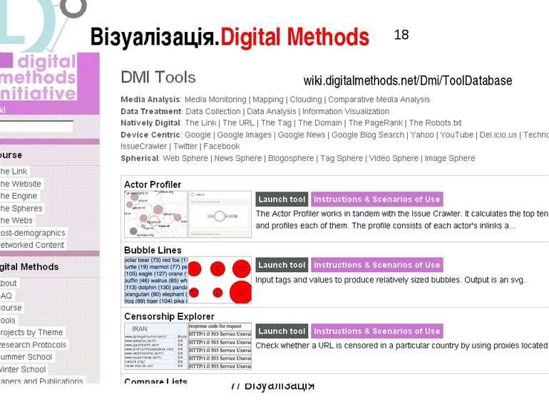 Візуалізація.Digital Methods 7/ Візуалізація wiki.digitalmethods.net/Dmi/Tool...