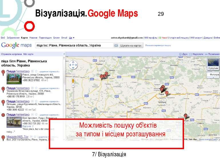 Візуалізація.Google Maps 7/ Візуалізація Можливість пошуку об'єктів за типом ...