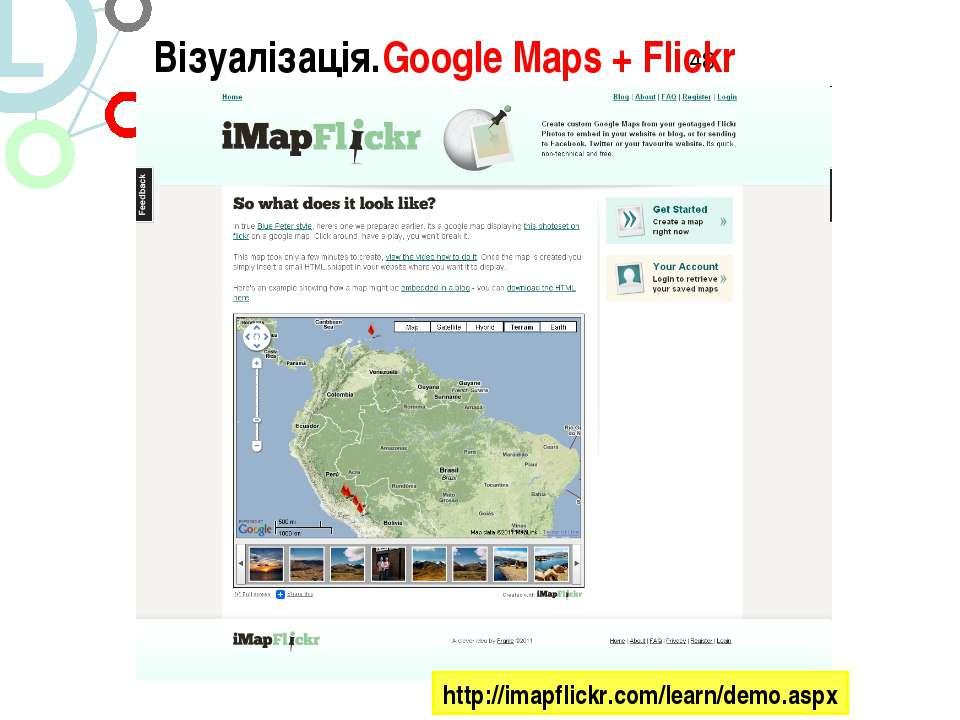 Візуалізація.Google Maps + Flickr http://imapflickr.com/learn/demo.aspx