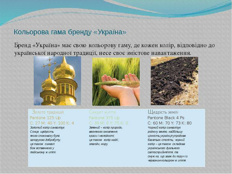 Кольорова гама бренду «Україна» Бренд «Україна» має свою кольорову гаму, де к...