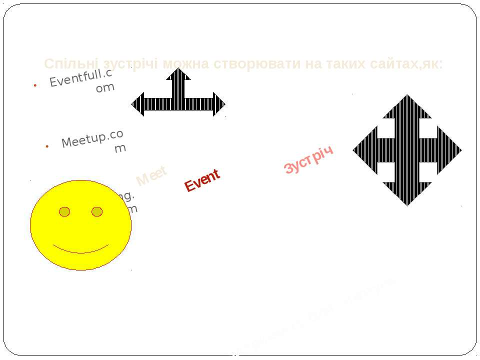 Спільні зустрічі можна створювати на таких сайтах,як: Eventfull.com Meetup.co...
