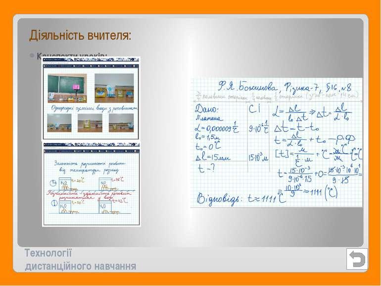 Технології дистанційного навчання Діяльність вчителя: Конспекти уроків: