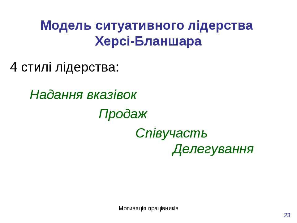 Мотивація працівників * * Модель ситуативного лідерства Херсі-Бланшара 4 стил...