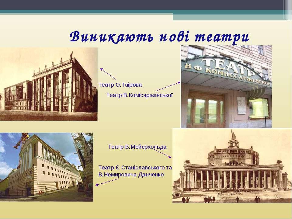 Виникають нові театри Театр О.Таірова Театр В.Комісаржевської Театр В.Мейєрхо...
