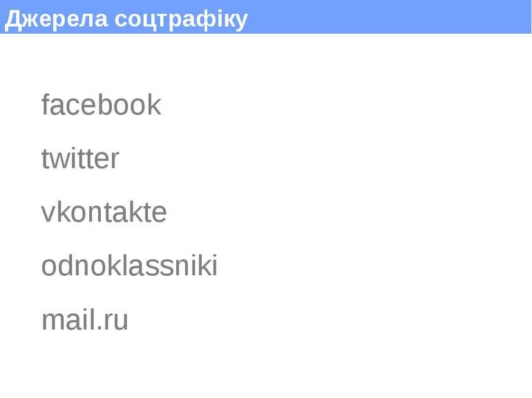 Джерела соцтрафіку facebook twitter vkontakte odnoklassniki mail.ru (c) Макси...
