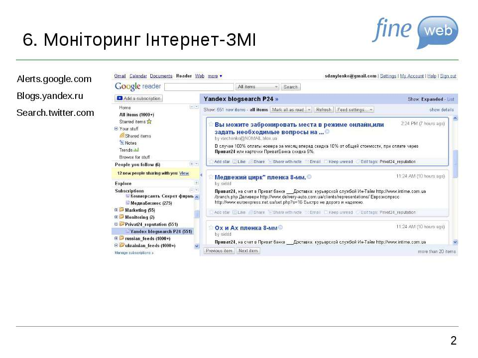6. Моніторинг Інтернет-ЗМІ 2 Alerts.google.com Blogs.yandex.ru Search.twitter...