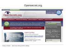 Opensecret.org Money in Politics -- See Who's Giving & Who's Getting