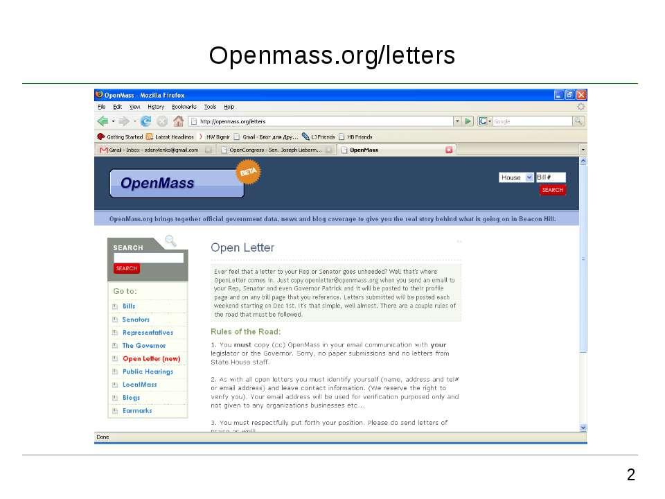Openmass.org/letters 2