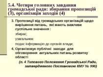 5.4. Чотири головних завдання громадської ради: збирання пропозицій (3), орга...
