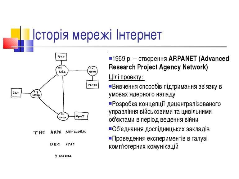 Історія мережі Інтернет 1969 р. – створення ARPANET (Advanced Research Projec...