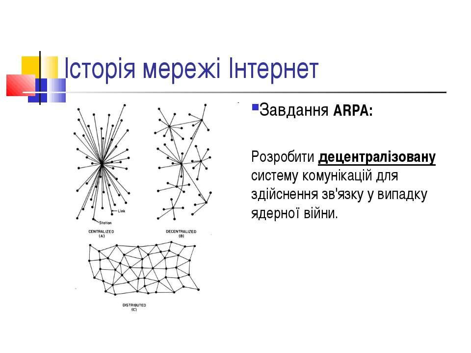 Історія мережі Інтернет Завдання ARPA: Розробити децентралізовану систему ком...