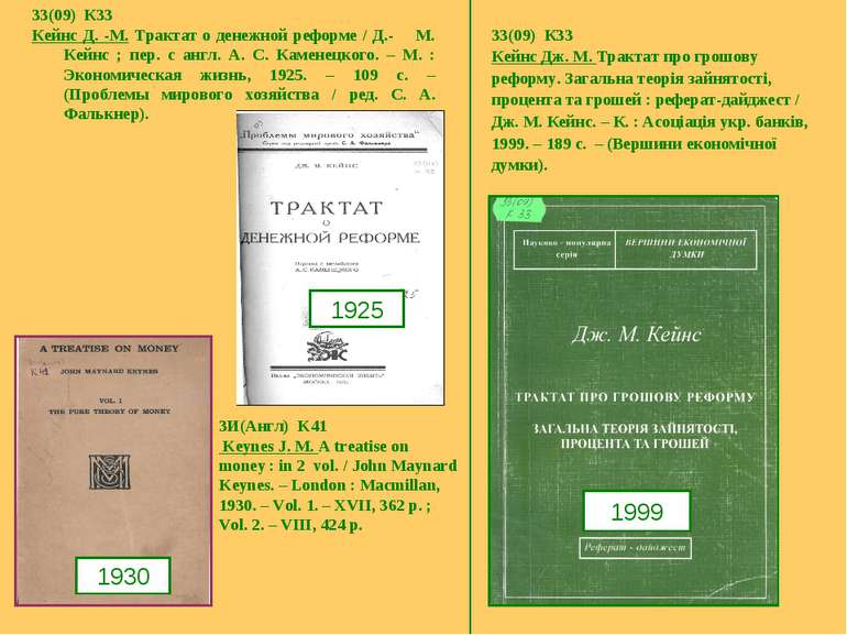 33(09) К33 Кейнс Д. -М. Трактат о денежной реформе / Д.- М. Кейнс ; пер. с ан...