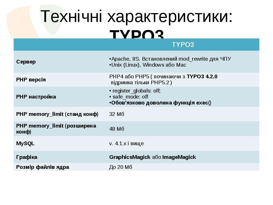 Технічні характеристики: TYPO3  TYPO3 Сервер Apache, IIS. Встановлений mod_r...