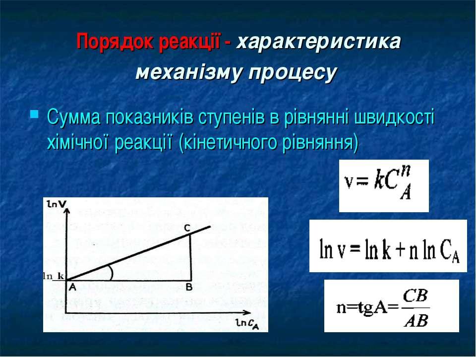 Порядок реакції - характеристика механізму процесу Сумма показників ступенів ...