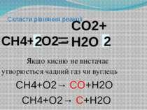 Скласти рівняння реакції СН4+ O2→ Якщо кисню не вистачає утворюється чадний г...