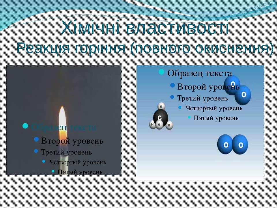 Хімічні властивості Реакція горіння (повного окиснення)