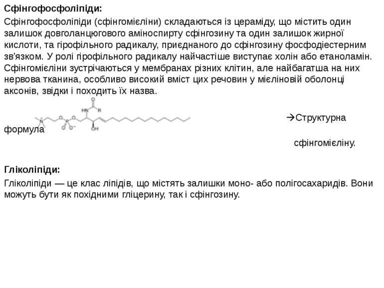 Сфінгофосфоліпіди: Сфінгофосфоліпіди (сфінгомієліни) складаються із цераміду,...